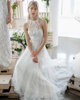 marchesa notte high neck sheath bridal wedding dress fall 2018