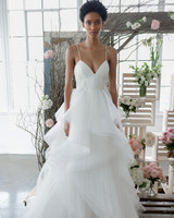 marchesa notte spaghetti straps layered a-line bridal wedding dress fall 2018