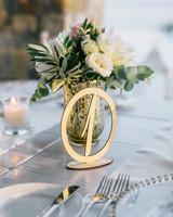 metallic gold wedding table numbers