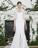 Monique Lhuillier Fall 2018 Strapless Lace Wedding Dress with Bolero