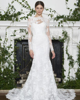 Monique Lhuillier Fall 2018 Long Sleeved Slim Lace Trumpet Wedding Dress