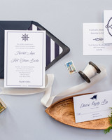 nautical invitation set with blue font new england elements