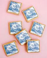 washington dc wedding blue gold sugar cookies