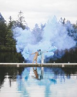 sanjay steven wedding grooms smoke bomb