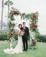 Floral Wedding Arch with Roses, Vines and Berries