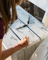 suzanne joseph wedding bench guestbook corbin gurkin