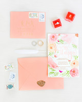 peach watercolor wedding invitation