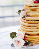 pancakes stack fresh flowers tiers