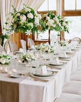 White wedding centerpieces Rustic Reception Table Martha Stewart Weddings 79 White Wedding Centerpieces Martha Stewart Weddings