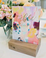 art-inspired wedding ideas abstract painting table number