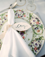 Napkin with Leaf-Shaped Name Card