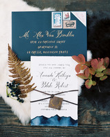 blue fall wedding invitation