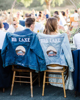 denim jacket with name and decal
