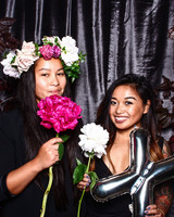 photo booth props floral crowns giant peonies mylar balloons