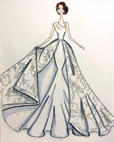 Sareh Nouri Fall 2017 Exclusive Wedding Dress Sketch