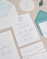 blue-and-white wedding invitation