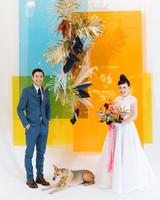 tashina huy colorful wedding couple dog backdrop