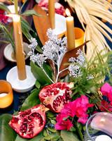 tashina huy colorful wedding pomegranate candles