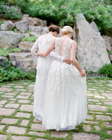 brides walking together