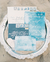 beach wedding invitations watery hues