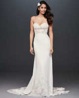 strapless shear lace bodice a-line wedding dress Galina Signature Spring 2020