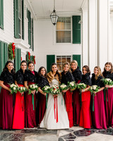lauren christian christmas wedding bridesmaids red dresses with bride