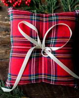 lauren christian christmas wedding plaid ring pillow