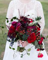 monochromatic bouquet deep red flowers