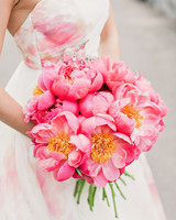 risa ross wedding brooklyn new york pink peonies
