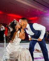 wedding reception dance floor bride groom kiss