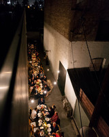 tashina huy colorful wedding outdoor dinner alley