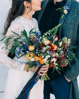 beachy blue, orange, and red floral bouquet