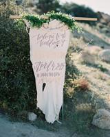 Christine & Josh's wedding - leather sign