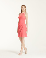coral bridesmaid dress davids bridal F15612 sleeveless