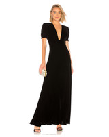 long black velvet fall wedding guest dress with plunging neckline