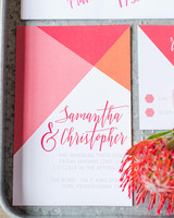 geometric wedding invitations pink modern with triangles hexagons