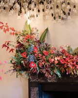 glara matthew wedding mantel floral arrangement