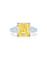Kwiat Asscher-Cut Yellow Diamond Engagement Ring with White Diamond Band