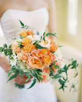 monochromatic bouquet peach orange flowers