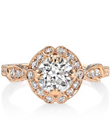 "Single Stone ""Celeste"" old European cut diamond set in rose gold"