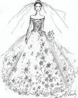 off shoulder wedding dress sketch