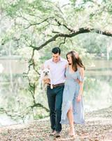 couple and dog spring engagement photo