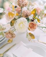 Vermillion and Dusty Rose floral arrangement