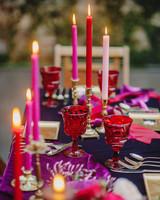unique wedding color palettes deep red purple pink table setting