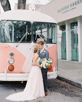 unique wedding color palettes couple kissing in front of pink vintage volkswagen bus