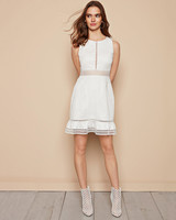 white cotton mini dress leather booties zac posen