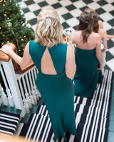 winter wedding guest attire pine green bridesmaids dresses
