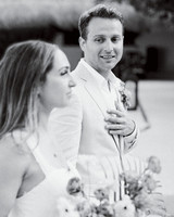 ariel trevor wedding tulum mexico recessional bride groom look