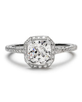 Beverly K Cushion-Cut Engagement Ring with Halo