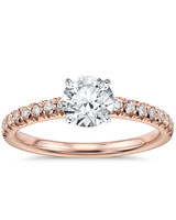 Blue Nile French Pavé Diamond Engagement Ring in Rose Gold